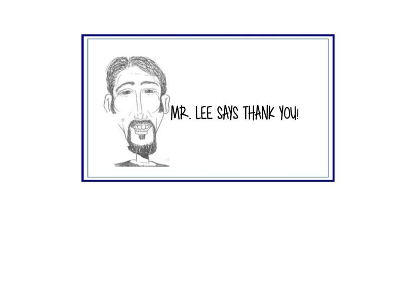 Thank You Note From Mr. Lee