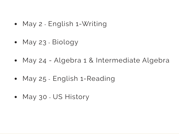 Spring End-of-Course Testing Dates