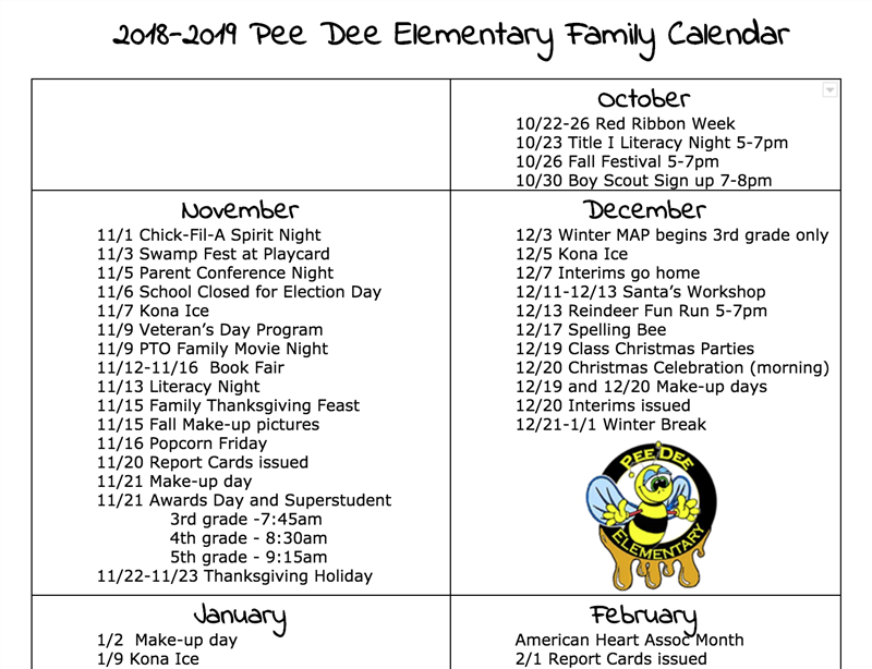 Pee Dee Elementary Family Calendar for 2018-2019
