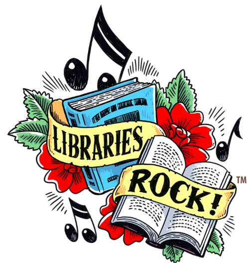"Image promoting the summer reading theme ""libraries rock"""