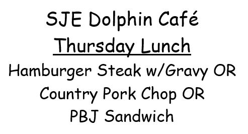 THURSDAY, APRIL 26TH MENU CHANGE