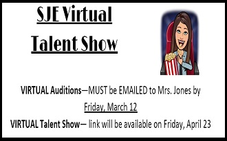 SJE Virtual Talent Show - Click here for more information!