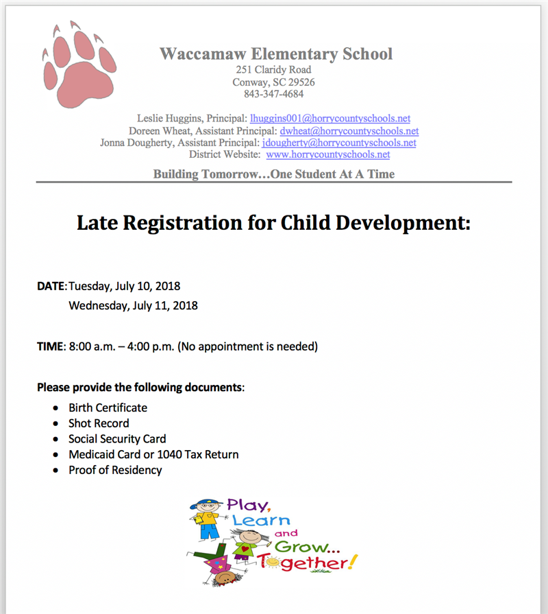 Late Child Development Registration Information