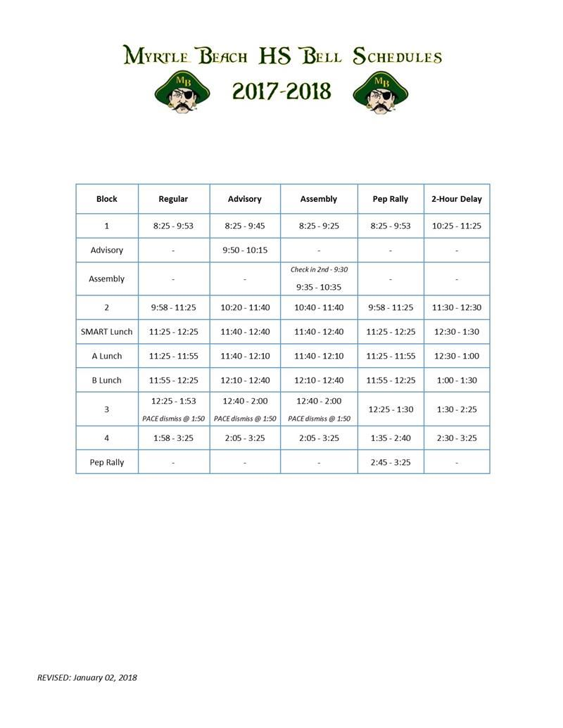 MBHS Bell Schedule