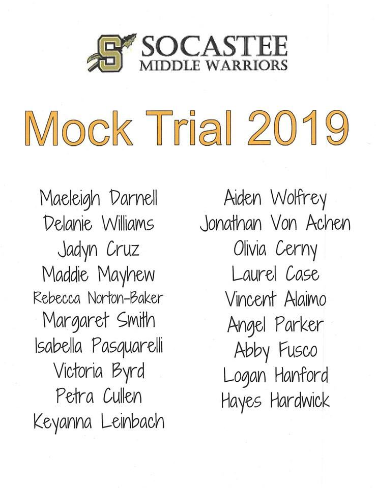 Socastee Middle School Mock Trial Team