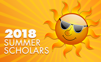 Image of a smiling sun with the test 2018 Summer Scholars