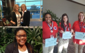3 panel image of the students who won at the HOSA competition