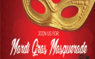 Image of a mask with the words Mardi Gras Masquerade