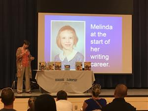 Melinda Long speaks at an author visit during the spring book fair at Seaside Elementary