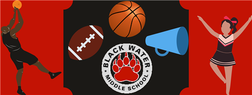 BWMS logo with drawn figures of a basket ball player and cheerleader