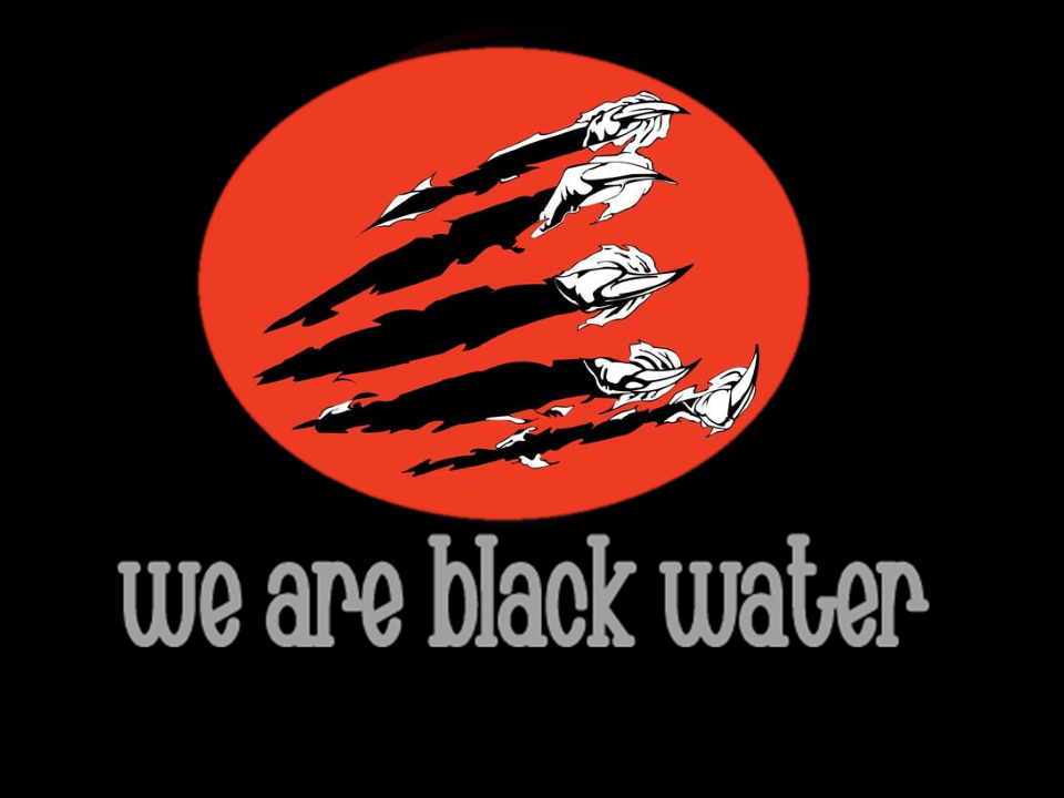 We Are Black Water Middle text with black background