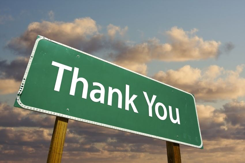 image of thank you sign