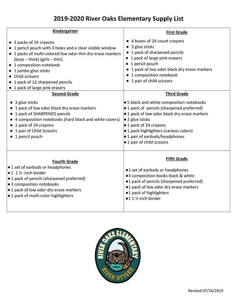 Home / 2019 - 2020 School Supply List