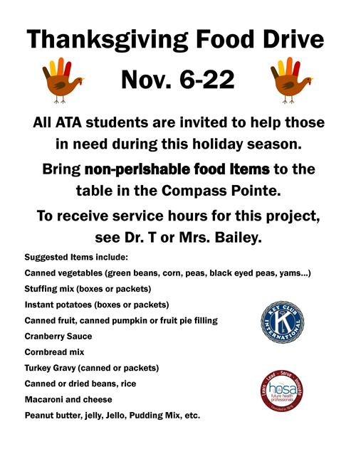 Image of flyer for food drive.