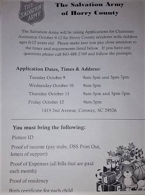 Christmas Assistance - OCTOBER 9 - 12