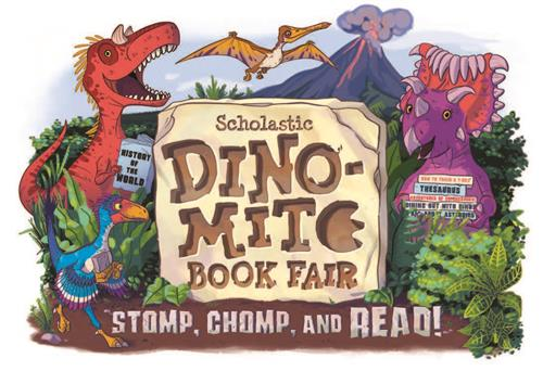 Dino Mite Book Fair picture with dinosaurs reading