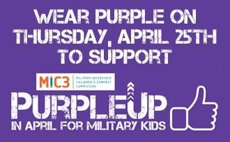 Wear Your Purple on Thursday, April 25th, in support of HCS Military Kids!