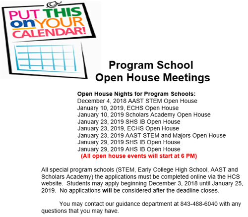 Program School Open House Meetings