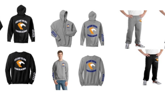 Gray, Black and Blue examples of the Hoodies, Sweatpants and Crewneck shirts with ECHS logo