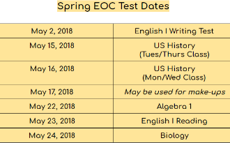 Various EOC Testing Dates from May 2nd through May 24th