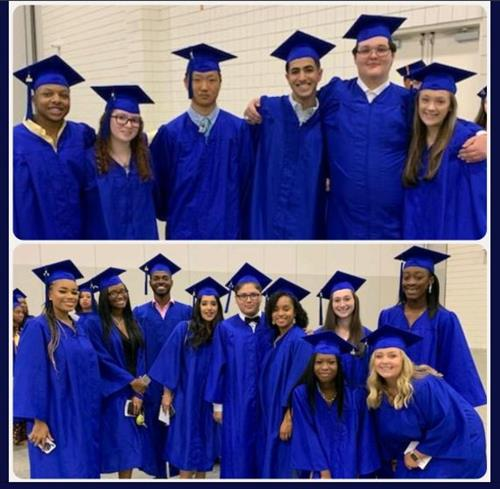Groups of Early College Students wearing blue caps and gowns at the HGTC graduation